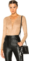 Alexander Wang Faux Suede Lace Up Bodysuit in Neutrals.