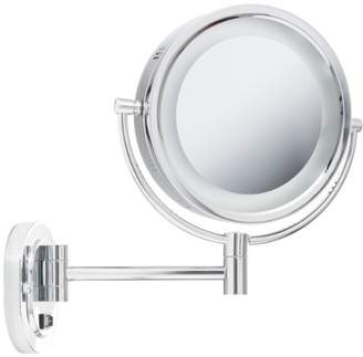 Jerdon HL165CD 8-Inch Lighted Wall Mount Direct Wire Makeup Mirror with 5x Magnification