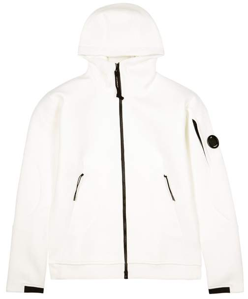 C.P. Company White Hooded Neoprene Sweatshirt