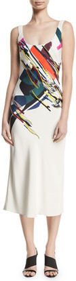 Cushnie Sleeveless Scoop-Neck Expressionist-Print Beaded Bias-Cut Cami Slip Dress