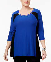 Belldini Plus Size Colorblocked Top