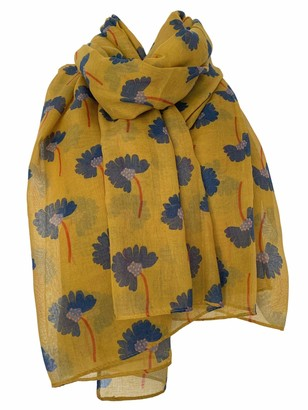 Purple Possum Floral Scarf Ladies Flowers Wrap Abstract Daisy Flower Print Shawl (Mustard Yellow)