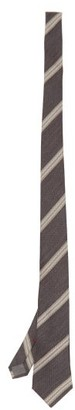 Brunello Cucinelli Diagonal-striped Wool-blend Tie - Dark Grey