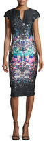 Jovani Cap-Sleeve Printed Stretch Crepe Sheath Dress, Dark Navy
