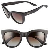 Smith Optics Women's 'Sidney' 55Mm Polarized Cat Eye Sunglasses - Matte Black/ Polarized Brown