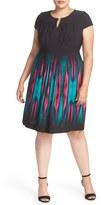 Tahari Plus Size Women's Print Jersey Keyhole Neck Sheath Dress