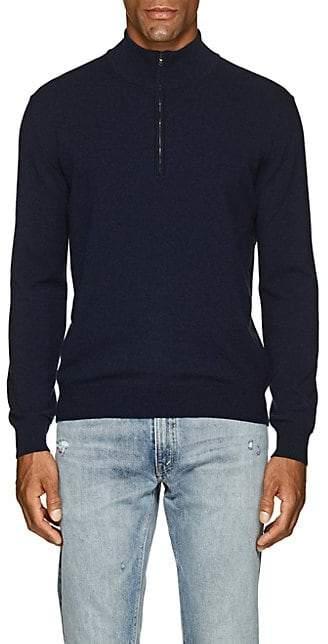 Barneys New York Men's Cashmere Half-Zip Mock-Turtleneck Sweater - Navy