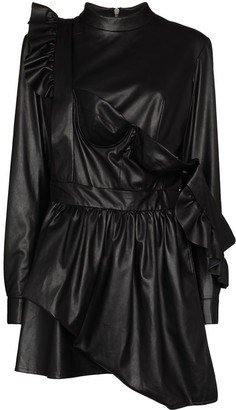 Natasha Zinko Leather Effect Ruffled Mini Dress