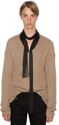 DSQUARED2 TORN KNIT COTTON V NECK SWEATER