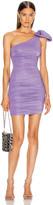 Redemption One Shoulder Bow Dress in Purple   FWRD