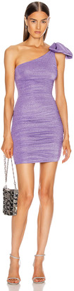 Redemption One Shoulder Bow Dress in Purple | FWRD