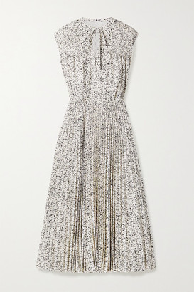 Jason Wu Printed Pleated Crepe De Chine Midi Dress - Ecru