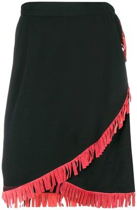 Saint Laurent Pre-Owned high-waist fringed skirt