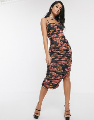 Style Cheat ruched midaxi pencil dress in dark floral print