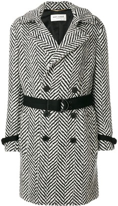 Saint Laurent Belted Graphic Knit Coat