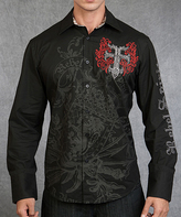 Rebel Spirit Black 'Rebel Spirit' Flaming Cross Button-Up - Men's Regular
