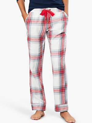 Joules Snooze Check Pyjama Bottoms, Cream/Red
