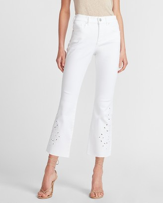 Express High Waisted White Embroidered Cropped Flare Jeans