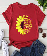 Basico Women's Tee Shirts Red - Red 'In a World Full of Roses' Sunflower Tee - Women & Plus