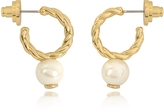 Tory Burch Ivory and Tory Gold Small Rope Pearl Hoop Earrings