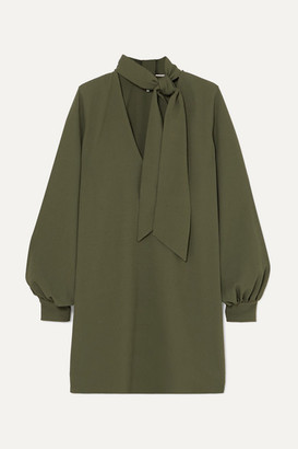 Ganni Pussy-bow Crepe Dress - Army green