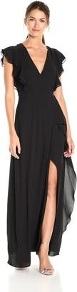 BCBGMAXAZRIA Azria Women's Callie V-Neck Ruffled Woven Gown