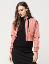 Ashley Crop Nylon Womens Bomber Jacket
