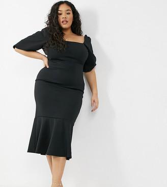 True Violet Plus square neck puff sleeve fishtail midi dress in black