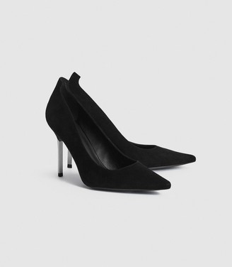 Reiss Chantelle - Suede Metal Heel Court Shoes in Black