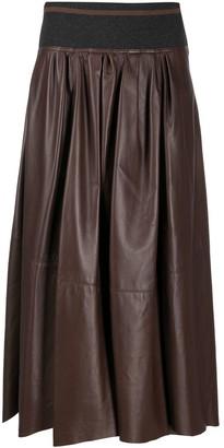 Brunello Cucinelli Leather Midi Skirt