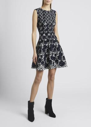 Alaia Floral Jacquard Sleeveless Mini Flare Dress