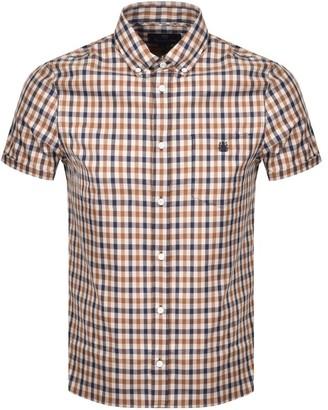 Aquascutum London York Check Short Sleeve Shirt Brown