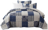 Dada Bedding Collection Floral Patchwork, Queenilted Coverlet Bedspread Set, Denim Blue, Full