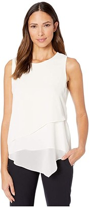 Vince Camuto Sleeveless Asymmetrical Hem Double Layer Chiffon Blouse (Pearl Ivory) Women's Blouse