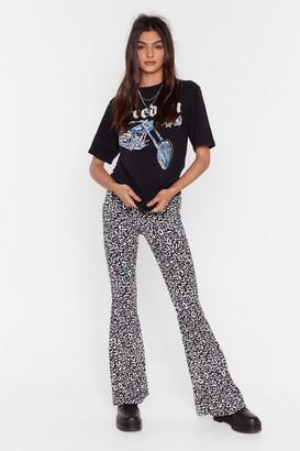 Nasty Gal Womens You Gotta Great Flare Leopard Flare Pants - Black