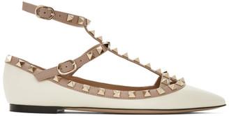 Valentino White and Pink Garavani Rockstud Caged Ballerina Flats
