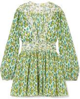 Zimmermann Golden Floral-print Plissé-chiffon Mini Dress - Green