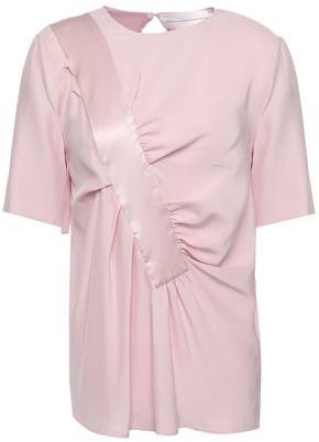 Victoria Victoria Beckham Satin-trimmed Gathered Washed-silk Blouse