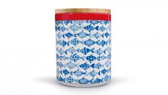 Remember - Porcelain Storage Jar with Wooden Lid Fish - porcelain | blue - Blue/Blue
