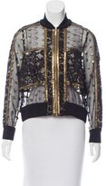 Elie Saab Lace and Embroidered Bomber Jacket