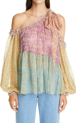 Zimmermann Carnaby Floral Off the Shoulder Silk Top