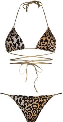 Reina Olga Hawn leopard-print wrap-around bikini