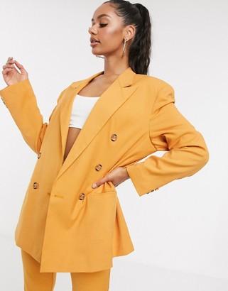 ASOS DESIGN extreme dad suit blazer in textured mustard