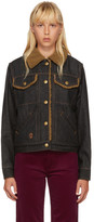Marc Jacobs Black Cropped Denim Shearling Jacket