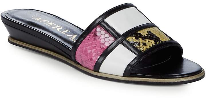 Aperlaï Women's Colorblocker Leather Slides