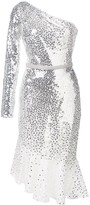 Marchesa sequin embroidered one shouldered dress