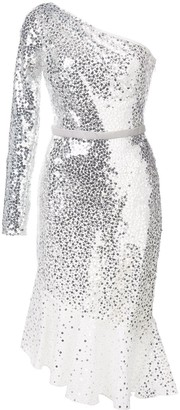 Marchesa Notte Sequin Embroidered One Shouldered Dress