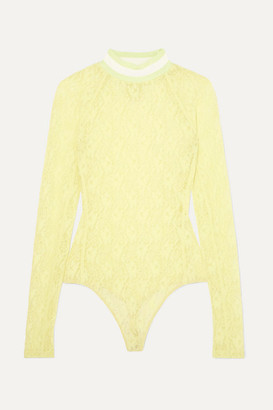 Alexander Wang Stretch-lace Thong Bodysuit - Chartreuse