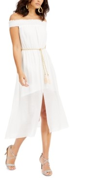 Thalia Sodi Gauze Off-The-Shoulder Fit & Flare Dress, Created for Macy's