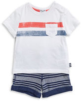Splendid Striped Two-Piece Pocket Tee and Shorts Set